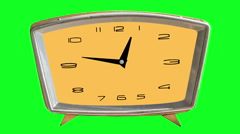 Video animation of loopable clock on chromakey (green) background Stock Footage