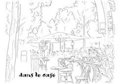 Cafe on the Champs-Elysees Stock Illustration