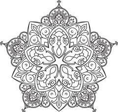 Abstract vector black lace design in mono line style - five-finger mandala, e - stock illustration