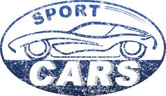 Sport cars blue oval rubber stamp design with silhouette of automobile Stock Illustration