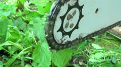 Chainsaw Blade Spinning, Close Up Stock Footage