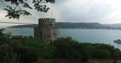 Ancient Rumeli fortress on the banks of the Bosphorus in Istanbul Stock Footage