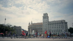 Beautiful fountain at Plaza Catalunya or Catalonia Square in Barcelona, 10 june - stock footage