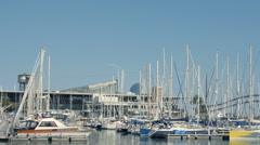 Boats in Barcelona's harbor, tourist place Stock Footage