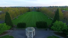 Aerial shot of courtyard park in the Northwest (Hillsboro, OR) Stock Footage