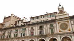 Clock Tower in Piazza della Loggia in Brescia Stock Footage
