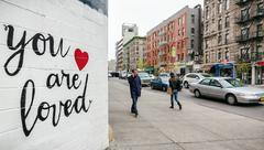 NEW YORK, USA - Apr 28, 2016: You are loved. Little Italy street scene. The A Stock Photos