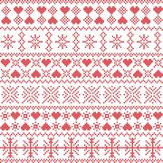 winter pattern with star heart shape elements - stock illustration