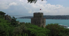 Ancient Rumeli fortress on the banks of the Bosphorus Stock Footage