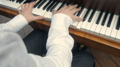 Hands Playing Old Piano Stock Footage