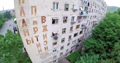 Aerial view of old soviet buildings Stock Footage