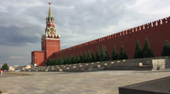 Spasskaya Tower. The view on the Kremlin, Red Square. Moscow. Stock Footage
