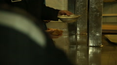 Prisoners and convicted persons have dinner in the prison canteen. Stock Footage