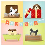 Set of cute dog background Stock Illustration
