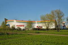 Rainbow. Shopping complex on Avenue of Cosmonauts Stock Photos