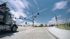 Car driving through Suburbia.-POV point of view. Stock Footage