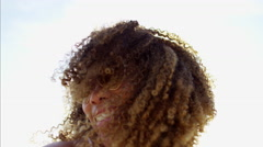 Portrait of afro hair Ethnic African American female having summer fun  Stock Footage