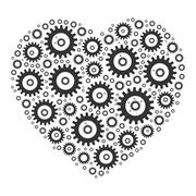 Heart shape mosaic of cog wheels Stock Illustration