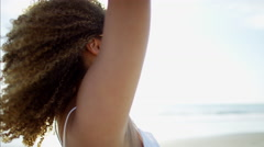 Portrait of attractive voluptuous carefree Ethnic African American female Stock Footage