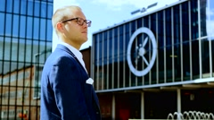 Lifestyle portrait of young successful businessman. career people professionals Stock Footage