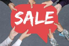 Group of people holding sale shopping special offer Stock Photos