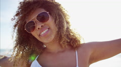 Portrait of sultry young afro hair Ethnic African American female relaxed  Stock Footage