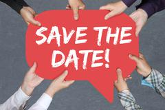 Group of people holding Save the date invitation message information Stock Photos