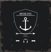 Anchor inside shield icon. Hipster style design. Vector graphic - stock illustration