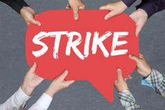 Group of people holding strike protest action demonstrate jobs, job employees Stock Photos