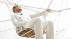 Young handsome casual man relaxing outdoors enjoying life. lifestyle background. Stock Footage