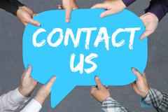 Group of people holding contact us assistance support customer service help - stock photo