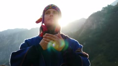 Man doing spiritual ceremony. meditation. recreational pursuit background Stock Footage