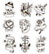 Old vintage tattoo vector set - stock illustration