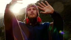 Caucasian man doing spiritual ceremony. recreational pursuit background Stock Footage