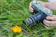 To photograph macro. Macro lens. Stock Photos