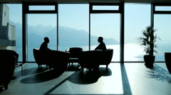 Business meeting. businessman discussion. client. handshake. luxury interior Stock Footage