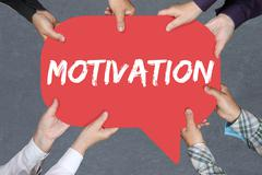 Group of people holding with hands the word motivation strategy coaching trai Stock Photos