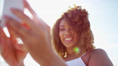 Beautiful voluptuous Ethnic African American female taking a selfie photo  Stock Footage