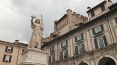 Italy Statue and Tower in Piazza della Loggia square in Brescia Stock Footage