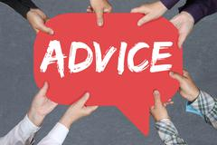 Group of people holding with hands the word advice support help assistance bu - stock photo