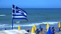 Greece Flag In The Wind. 4K Stock Footage