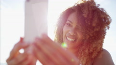 Afro hair Ethnic African American female waving farewell using video messaging Stock Footage