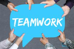 Group of people holding teamwork team working together business concept succe - stock photo