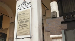 Memorial plaque of Piazza della Loggia bombing in Brescia Stock Footage
