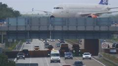 Airplane over autobahn Arkistovideo