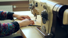 Sewing on sewing mashine Stock Footage