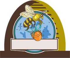 Bee Carrying Honey Pot Skep Circle Drawing - stock illustration