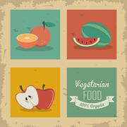 Orange, watermelon and apple icon. Organic food design. Vector g - stock illustration