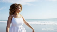Beautiful young afro hair Ethnic African American female enjoying summer Stock Footage