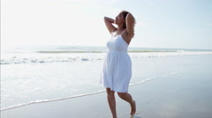 Plus size Ethnic African American female enjoying a carefree and happy summer  Stock Footage